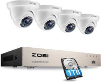ZOSI 8CH H.265+ 1080P Außen Überwachungskamera System mit 1TB Festplatte und 4 2MP Dome Video Kamera Set für Zu Hause