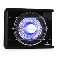 """auna Bassbox Subwoofer 25cm (10"""") 300W RMS 600W max. blau Lichteffekt"""