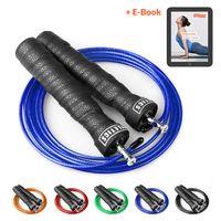 Joyletics® Springseil Speed Rope »Premium« mit Tasche   Speedrope für Cardiotraining mit Kugellager-Gelenk und verstellbarem Stahlseil   inklusive praktischer Aufbewahrungstasche und Ersatzseil blau