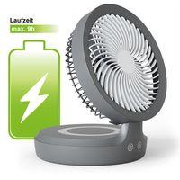 Eldstad Mini USB Ventilator Tischventilator LED Licht Akku Schreibtisch 4 Stufen