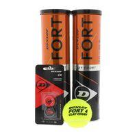 Dunlop 2 x 4er Dose Tennisbälle Fort Clay Court Gelb Doppelpack (ABA), Größe:oz