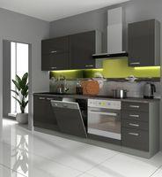 Küche Bianca Basic II 240 Küchenzeile Glanz Grau Küchenblock Einbauküche Grey