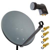 PremiumX 80cm Satellitenschüssel Stahl Anthrazit Satellitenantenne SAT Anlage Twin LNB 4 F-Stecker