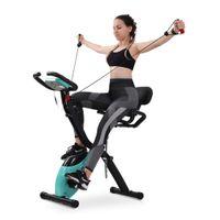 Merax Heimtrainer Fitnessbike 3-in-1 X-bike mit Expanderbändern und Handpulssensoren, Magnetische Faltbares Fitnessfahrrad mit 10 Widerstandsstufen, Fitnessgeräte, Max. Benutzergewicht 120 kg, Blau