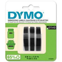 DYMO Original Prägeband  | 3D weiß auf schwarz | 9 mm x 3 m | selbstklebendes Kunststoff Etikettenband | für Junior & Omega Beschriftungsgerät | 3 Prägebänder