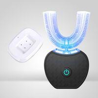 Automatische Elektrische Zahnbürste, U-Form 360 ° Bürsten Kaltes Licht Aufhellung Zahnreiniger Mit Kabellosem Ladegerät,Black