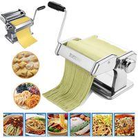 Nudelmaschine Pasta Maker Edelstahl Frische Manuelle Pasta Walze Maschine Cutter mit Klemme für Spaghetti Nudeln Lasagne Bestes Pastamaschine Nudel Maschine,Breite: 2mm und 5mm / 7 Einstellbare Staerken,Silber