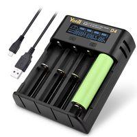 YONII D4 LCD-Bildschirm Batterieladegerät 4 Steckplätze für 18650 21700 26650 Lithium, Nimh Batterie