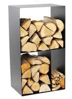 Kaminholzregal 3 Fächer Stahl schwarz Feuerholzregal handgefertigt N-BR-146