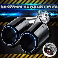 63mm-89mm Auto Doppelrohr Auspuffblende Endrohr Glanz Carbon Blau Edelstahl DE