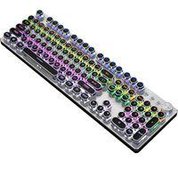 Kabelgebundene schwebende Tastatur Ergonomische wasserabweisende Tastatur mit mechanischem Gefühl, ultraflache Rainbow LED-Tastatur mit Hintergrundbeleuchtung für Desktop, Computer, PC