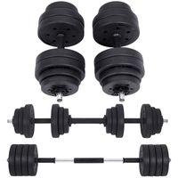 SONGMICS Kurzhanteln Set 2 ×15 kg | Hantelset mit Verbindungsstahlrohr Workout Fitness Training, Gewichtheben für Zuhause Fitnessstudio SYL30HBK