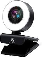 Vitade Webcam 1080P HD mit Mikrofon und Ringlicht, 960A Computer PC USB Kamera Facecam für Streaming Video Chat Aufnahme, Für Laptop Konferenz Spiele Skype OBS Twitch YouTube Xsplit