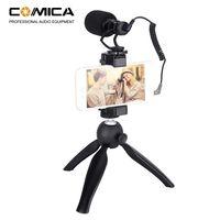 CoMica CVM-VM10-K2 Smartphone-Video-Rig-Kit mit Miniatur-Video-Mikrofon-Telefonhalter mit Nierencharakteristik Mini-Stativ fuer Smartphones mit einer Breite von 54 bis 95 mm