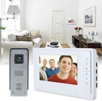 "7"" Türsprechanlage Video Gegensprechanlage 2-FAMILIENHAUS Klingel-Sprechanlage LCD Monitor Kamera Klingel 4 Draht"