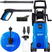 Nilfisk 128470808 C125.7-6 Home X-TRA Hochdruckreiniger, Click&Clean System, inklusive Flächen-, Terrassenreiniger, Reinigungsbürste, Schaumsprüher