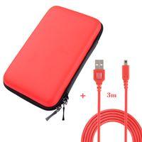 Exlene 3DS/ 2DS XL Tasche + 3M usb-aufladungskabel,für Nintendo 2DS XL/ 3DS/ 3DS XL (rot)