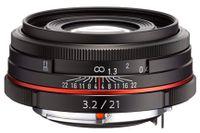 Pentax HD DA 21mm F3.2 AL Limited, SLR, 8/5, weit, 0.17 x, Aluminium, Schwarz