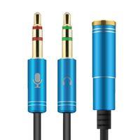 Audio Splitter Kabel Y Adapter Headset 3.5mm Klinke Buchse > 2x Stecker Blau