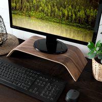 kalibri Bildschirm Holzständer TV Ständer - Computer Tisch Schreibtisch Aufsatz Monitorständer Bank - Schreibtischaufsatz aus Walnussholz in Braun