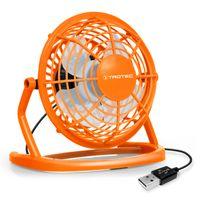 TROTEC TVE 1O Mini USB Ventilator / Fan / Lüfter Pumpkin Orange, geräuscharm mit An/Aus-Schalter, 360° Neigungswinkel, ideal für Schreibtisch Laptop Notebook, oder unterwegs (orange)