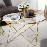 WOHNLING Design Couchtisch Marmor Optik Weiß Rund Ø 85 cm Gold Metall-Gestell   Großer Wohnzimmertisch   Beistelltisch