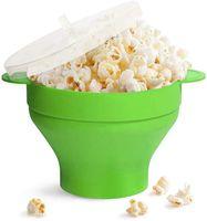 Mikrowelle Popcorn Popper Silikon Popcorn Maker Faltbare Schüssel mit Deckel & Griff für Home Party, Grün