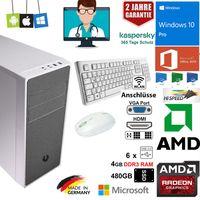 Komplett Praxis PC mit Tastatur+Maus FX-4300 4GB RAM  480GB SSD,  Windows 10 Pro, Office 2019