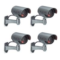 relaxdays 4er Set Dummy Kamera CCD draußen Kamera Attrappe, Outdoor LED Camera schwenkbar
