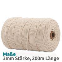 VOYAL Makramee Garn - 200m (Stärke: 3mm) - 100% Natürliches, gezwirntes Baumwolle Garn, natur / beige