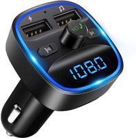Bluetooth FM Transmitter, KFZ Auto Radio Adapter Drahtloser Radio Kfz-Empfänger Stick mit Freisprecheinrichtung, Dual USB Ladegerät 5V/2,4A und 5V/1A, SD-Karte, USB-Disk