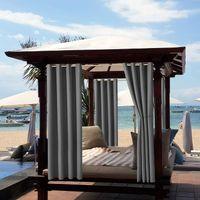 4 Stück Outdoor Vorhang Wasserdicht,Blickdicht Vorhang Winddicht UV Schutz Sonnenschutz Gardinen für Balkon Garten Hof (52*84in, Dunkelgrau)