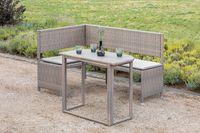 Merxx Eckbank Set inkl. Kissen - Stahlgestell mit Kunststoffgeflecht grau/beige - 50505-258