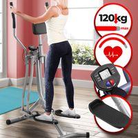 Physionics® Crosstrainer mit LCD Display - für Zuhause, mit Herzschlag Sensor und Bauchunterstützung, 90 cm Schrittlänge - Heimtrainer Stepper, Cardio-Trainer, Nordic-Walker