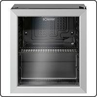Bomann KSG 7282.1 Glastürkühlschrank, 48 Liter, LED Innenraumbeleuchtung, separat schaltbar, wechselbarer Türanschlag, Energieeffizient, schwarz