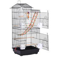 Yaheetech Vogelkäfig Wellensittich Kanarien Käfig mit Vogelspielzeug 46 x 35,5 x 99 cm
