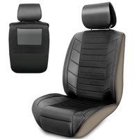Autositzauflage Leder Optik mit Trittschutz für die Rückenlehne | Auto-Sitzbezug & Rücksitz Organizer für Vordersitze | Autositzschoner Universal  Auto-zubehör