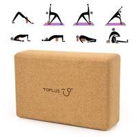 TOPLUS Yoga Block für Anfänger und Fortgeschrittene aus 100 % Naturkork,Korkblock  Yogablock Kork für Fitness Yoga & Pilates & Gymnastik,750g,23*15*7.5cm