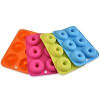CANDeal 4 Pack Silikon Donut Formen, 6 Hohlraum Antihaft-Safe Backblech Maker Pan Hitzebeständigkeit für Kuchen Keks Bagels Muffins-Orange, Rose Red, Grün, Blau