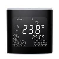 Smart Thermostat Digitale Temperaturregler LCD Display Programmierbare Elektrische Fußbodenheizung Thermostat mit Gebogener Oberfläche für Home School Office Hotel 16A[Schwarz]