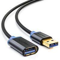 deleyCON 2m USB 3.0 Super Speed Verlängerungskabel - USB A-Stecker zu USB A-Buchse - USB 3.0 Super Speed Technologie bis zu 5Gbit/s - /Blau