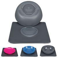 Yummynator, rutschfestes Napfsystem mit 24 x 24cm Unterlage, Farbe:Pink/grau - 0.4l
