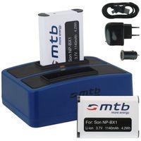 2x Akku + Dual-Ladegerät (Netz+Kfz+USB) für Sony NP-BX1 / Sony HDR-AS15, AS100(V/B) / DSC-HX400(V), RX100 II, III, IV / PJ240 / FDR-X1000V, X3000R... (s. Liste)