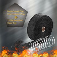 15m Hitzeschutzband Auspuffband Thermoband Hitzebeständig Hitzeschutz Heat Wrap Krümmer Auspuff Band 2000° 50mm Breite + 10 Kabelbindern