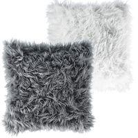 Dekokissen Hunter Kunstfell Kissenbezug mit Füllung Kissenhülle Fellimitat mit Reißverschluss, 50 x 50 cm,  weiß