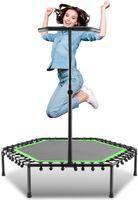 Fitness Trampolin Indoor Ø 127 cm, bis 130 kg, Jumping mit höhenverstellbarer Haltegriff, klappbar - Mini-Trampolin, Aerobic Trampolin für Erwachsene und Kinder, Jumper, Rebounder