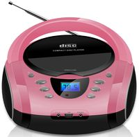 Cyberlux Boombox Tragbarer CD-Player Kinder Radio CD-Radio Stereoanlage Pink