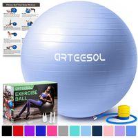 arteesol Gymnastikball 65 cm Fitnessball Sitzball Pilates Anti Burst Yoga Sportball Mit Luftpumpe, Himmelblau