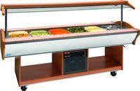 Salatbar Modell MARYAM 6 Walnuss, Maße: B 2200 x T 900 x H 850/1350