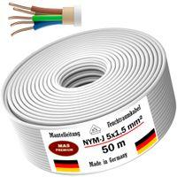 Feuchtraumkabel Stromkabel Mantelleitung 50m NYM-J 5x1,5 mm² Elektrokabel